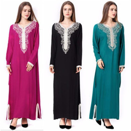 Wholesale Islamic Clothing Women Wholesale - Muslim Dress Dubai Kaftan For Women Long Sleeve Arabic Long Dress Abaya Islamic Clothing Girls JALABIYA Caftan