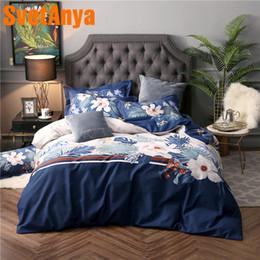 venta al por mayor ropa de cama de algodón lijado floral azul Queen King tamaño doble completo (funda de almohada plana juegos de cubierta de edredón) desde fabricantes