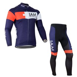 Wholesale Iam Cycling - 2018 New IAM team Cycling long Sleeves jersey (bib) pants sets Hot Sale Bikes Clothes Breathable Quick Dry cycling clothing c1403
