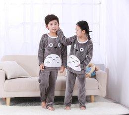Wholesale cartoon pyjamas - Thickening girls Flannel Pajamas Set New Arrival Baby Boys Warm nightwear Winter Cartoon Kids Pyjamas Children Sleepwear HMN1