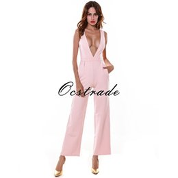 Discount night jumpsuit - Free Shipping 2017 HOT SUMMER NEW STYLE BLUSH DEEP V WIDE LEG ROMPERS WOMEN SEXY BODYCON JUMPSUIT NIGHT CLUB WHITE BLACK