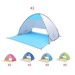 Wholesale automatic door open - 4colors Folding tent Automatic Open Tent Instant Portable Beach Tent Shelter Hiking Camping Anti-UV Family Camping Tents For 2 Person
