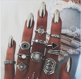 Wholesale Antique Crystal Rings - National wind Bohemian Punk Crystal Rings 10Pcs Lot For Women Antique Silver Horse Flower Inifinite Ring Set Jewelry