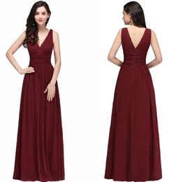 Wholesale Cheap Maternity Evening Gowns - 2018 Cheap A Line Burgundy Chiffon Bridesmaid Dresses Sexy V Neck Black Party Gown Backless Evening Dresses Robe demoiselle d'honneur CPS723