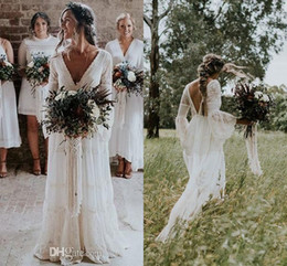 Wholesale Trumpet Line Wedding Dresses - 2018 New Gwendolyn Bohemian Wedding Dresses V Neck Lace Trumpet Sleeve Long Summer Beach Bridal Wedding Dress Gelinlik Vestido De noiva