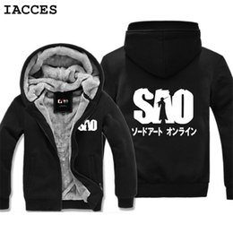 Wholesale Art Online Games - IACCES Famous brand Anime Sword Art Online hoodies men fashion printing jacket Super thick winter Warm casual Games sweatshirts
