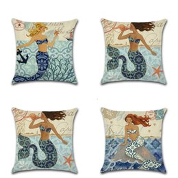 Wholesale classic home design - Cartoon Mermaid Design Pillowcase Add More Fun For Home Decor Classic Style Pillow Case Digital Printing Pattern Cushion Cover 4 8khb Z