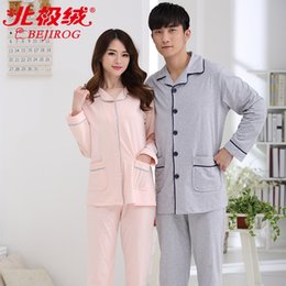 Wholesale sexy pjs - Solid Pajamas Sleepwear For Women Men Cotton Female PJS Tops+Pants Sets Spring Summer Long Sleeve Casual Male Nightgowns Pyjamas