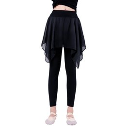2019 faldas de gimnasia Chicas Fitness Pantalones de baile de ballet de algodón Lyrical Chiffon Skirt Gymnastics Yoga Practicar calzas para niños rebajas faldas de gimnasia