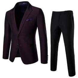 2ca462c78da8 lila hosenanzug Rabatt Anzug Männer Qualität Business Casual Anzug Hosen 2  Sätze von lila roten Bräutigam