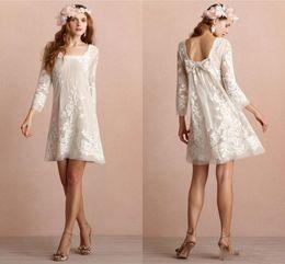 b5ef4663b3f Mini Short Wedding Dresses Square Neckline Long Sleeves Backless Wedding  Dress Appliqued Lace Beach Bridal Gowns