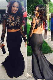 Wholesale Transparent Dress Piece - Two Piece Jewel Sweep Train Long Sleeve Black Applique Satin Lace Mermaid Prom Dress Backless Transparent Sweep Train Custom Made Party Gown