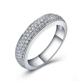 Wholesale Setting Semi Ring Mount - Quality Semi Mount Synthetic Diamond Wedding Band Ring 925 Sterling Silver Anniversary Classic Jewelry Rings for Women White Gold Color
