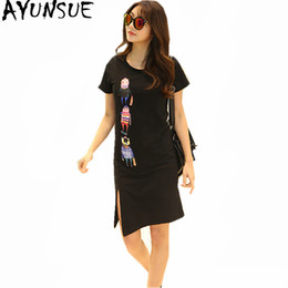 Wholesale plus size tee shirt dress - AYUNSUE 2018 New Summer Dress Women O-Neck T-Shirt Short Sleeve Print Cartoon Top Tee Slim Solid Casaul Dresses Plus Size WXF696