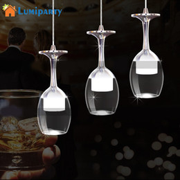 Wholesale led modern wine glass lighting - LumiParty New led Wine Glass pendant lamps high 3W White Warm light pendant led lamps lustre light lights