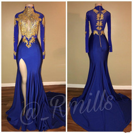 Wholesale Art Deco Dresses - Royal Blue 2018 Prom Dresses Gold Lace African Formal Evening Gowns Mermaid Split Side High Collar Long Sleeves Party Dress