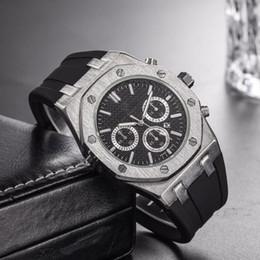 Relógio de luxo para homens de borracha on-line-Top Venda de Luxo Assista Homens Especiais 2019 Black Dial Rubber Band Ouro de Aço Inoxidável Automático de quartzo 15710ST Homens Mens Watch Relógios