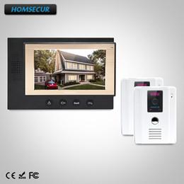 """Porta telefônica porta elétrica on-line-HOMSECUR 7 """"Com fio Video Porteiro Intercom Sistema de Bloqueio Elétrico Suportado: 2C1M: TC011-W Câmera (Branco) + Monitor TM701-B (preto)"""