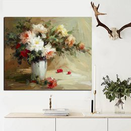 Wholesale Rectangle Flower Vase - Big Size Abstract Flowers in Vase Oil Painting Print on Canvas Modern Minimalist Orchid Poster Art Wall Picture Cuadros Decor
