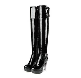 Wholesale High Heels Thigh Boots - Patent Leather Sexy Thigh High Heel Boots Winter Women Over the Knee Boots Plus Size Shoes Platform Round head side zipper Red Black Color