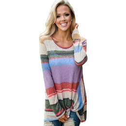 30797ff2207c9 2018 New Long Women T Shirt Spring And Autumn Round Neck Hot Rainbow Stripe  Fashion Knotted Top T-shirt Tops Vestidos OYM0622