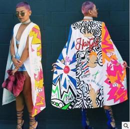 Wholesale Cloak Outerwear - spring autuman women's jacket cape New personality big cloak printing fashion long coat Doodle pattern Outerwear