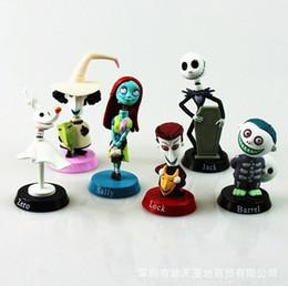 Figura de ação do jaque on-line-Anime nightmare antes do natal jack bonecas de pvc figuras de ação toy dool 6 pçs / set 5 ~ 7 cm epacket free holloween presente