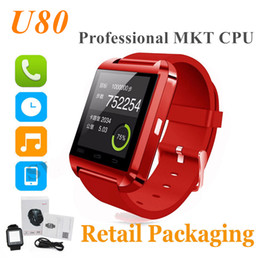 Wholesale Professional Iphone - Bluetooth U80 Smartwatch Professional mkt Wrist Watches Touch Screen For IOS iPhone Android Samsung Phone Smart Watch With Retail Package