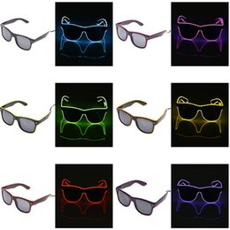Óculos de sol incandescentes on-line-LEVOU Óculos de Arame EL Light Up Glow Sunglasses Eyewear Shades para Discoteca Partido LED piscando óculos