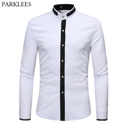 Мужские рубашки с полосатым воротником онлайн-Men's Hipster Banded Collar Dress Shirts 2018 Autumn New Slim Fit Long Sleeve Chemise Homme Casual Constrast Color Shirt Male