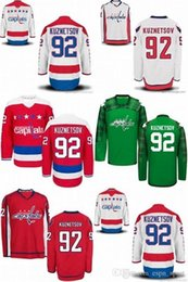 Wholesale Hot Washington - Hot Sale Mens Washington Capitals 92 Evgeny Kuznetsov Red White Green Best Quality Cheap Full Embroidery Logos Stitched Ice Hockey Jerseys