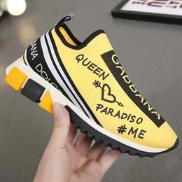 chaussures de marque en tissu Promotion Tenue de marque des hommes en tissu graffiti Sorrento Slip-on Respirant Sneaker Designer Femme Bottes bicolores en caoutchouc Semelle Décontractée Boxed