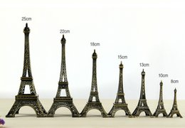 Wholesale eiffel tower metal model - Vintage Design 3D Paris Eiffel Tower Metallic Model Bronze Color Craft for Wedding Gift Shooting Prop Home Decoration Supplies