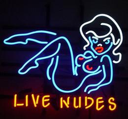 2019 nuevas fotos desnudas Custom New Live Nudes Real Glass Letrero de neón light Beer Bar Sign Enviar foto de la necesidad 19x15
