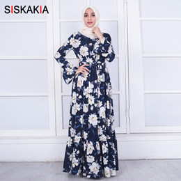 3ad3e12b5f Siskakia Muslim women robes Fashion floral abaya flare long sleeve round  neck Ramadan clothing slim sashes Draped Swing Dresses
