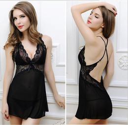 Lady pyjamas transparent online-Großhandel Damen Perspektive sexy Pyjamas Extreme Versuchung Riemen transparent Pyjamas