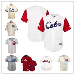 Base clássica on-line-Equipe Juventude das crianças dos homens Kid Cuba Baseball Branco Vermelho 2017 Baseball Clássico Legal Base 1947 Jersey Estrada Cuba UAA 1952 Autêntica Custom Jersey