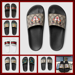 rubber feet shoes Promo Codes - 18ss High quality men's designers slippers clip feet flip style European Tiger lines style Shoes luxurious brand sandals Size 36-46