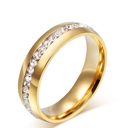 Wholesale Famous Wedding Bands - Hot Sale Famous Brand classic 6mm gold Color CZ Rhinestone rings Wedding Band lovers Ring for Women and Men