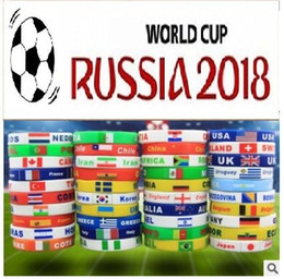 Wholesale Silicone Bracelet Id - Russia World Cup silicone bracelets with national flags sports Wristband Football Fans Silicone Bracelet Souvenir Gift