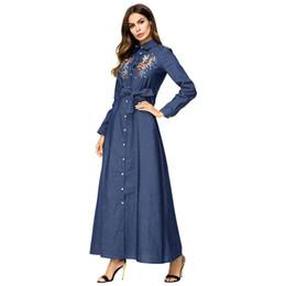 575fb46b9c Women's denim dress long skirt with embroidered button belt fashion slim  dress plus size M-4XL free shipping supplier plus size floral denim dresses