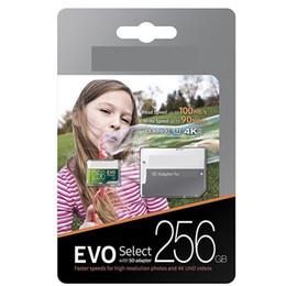 Memória micro câmera sd on-line-256 GB 128 GB Micro SD Cartão de Memória 64 GB EVO Selecione 100 MB / s Classe 10 para Smartphones Câmera Galaxy Note 7 8 S7 S8