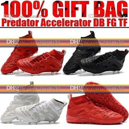 Wholesale Football Cleats Sale - Top Sale Original High Ankle Football Boots Predator Accelerator DB FG Soccer Shoes Firm Ground David Beckham Indoor TF Soccer Cleats Socks