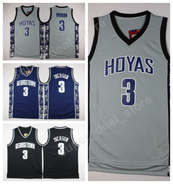 Wholesale Gray Basketball Jersey - Georgetown Hoyas College Jerseys Black Blue Gray Stitched Basketball 3 Allen Iverson Jersey Men Sale For Sport Fans Wholesales Lowest Price