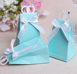 Wholesale Gift Bags Paper Bow - Personalized Rings Wedding Party Favors Box Love Bird Sweets Candy Choclate Boxes Gifts Present Wrap Bag with bow Tiffany Blue