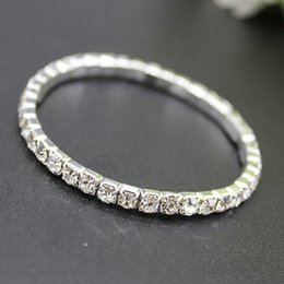 Wholesale Bangle Bracelets For Sale - 2018 Hot Sale 1 Row Rhinestone Bangle Wedding Accessories Bridal Bracelets Free Shipping Wedding Jewelry Cheap Bracelet For Prom