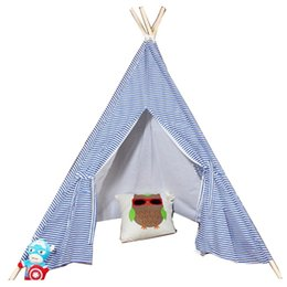 Wholesale kids play teepee - Free Love @blue stripe kids play tent indian teepee children playhouse children play room teepee