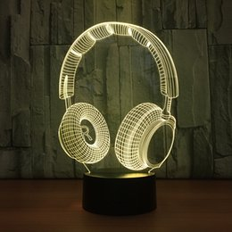 Wholesale Earphone Cup - 2018 Earphone 3D Optical Illusion Lamp Night Light DC 5V USB Charging AA Battery Wholesale Dropshipping Free Shipping