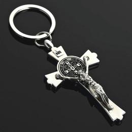 Aço inoxidável prata jesus cristo pingente cruz charme de metal chaveiro anel chave do carro presente da jóia religiosa titular chave de Fornecedores de carros do besouro volkswagen
