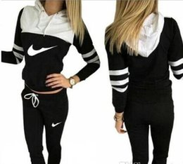 Wholesale long sleeve woven - Women Tracksuit Sportswear Set Sports Suit Women Hoodies Sweatshirts Casual Hooded + 2PIECES JOGGING SUIT TRACKSUITS